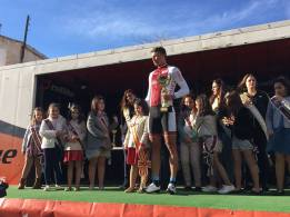 The winner on the podium